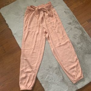 🦅 NWT AE peach silky paper bag pants